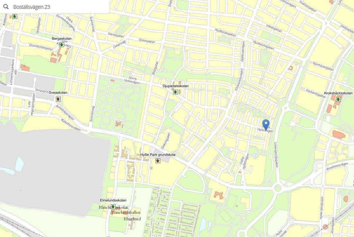 Malmö Stad - karta över närliggande grundskolor