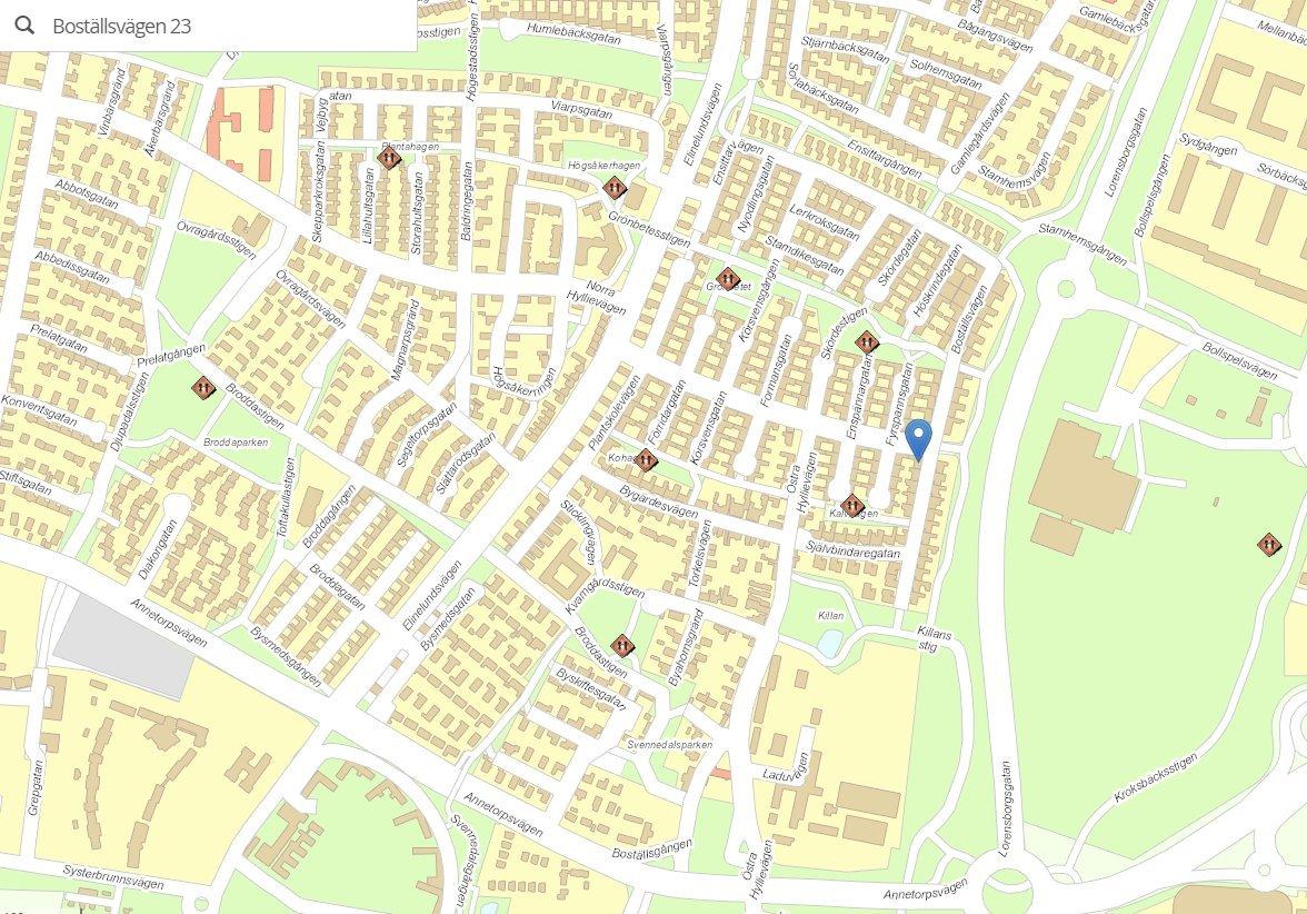 Malmö Stad - karta över närliggande lekplatser