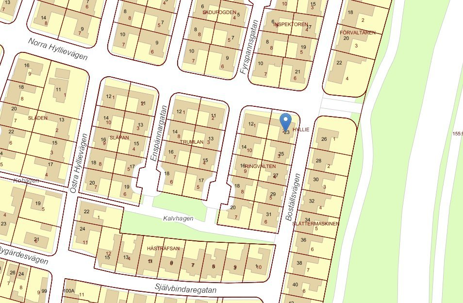 Malmö Stad - karta  med fastighetens placering