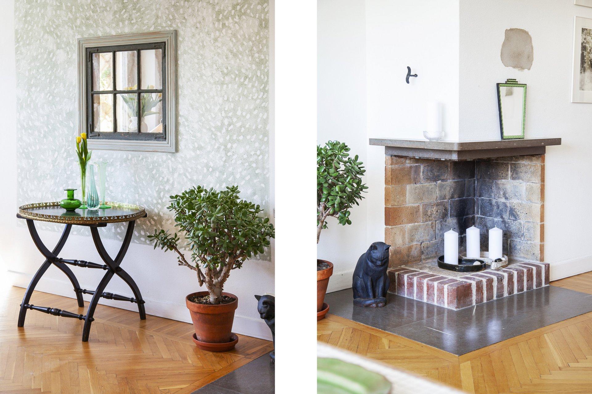 Bildmontage - fönster i vägg mellan kök & vardagsrum samt fungerande öppen spis